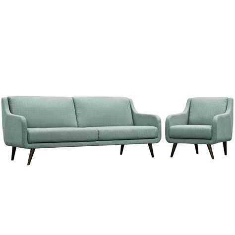sofa armchair set mid century modern verve 2 pc upholstered sofa armchair