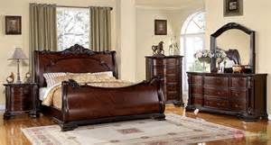 sleigh bedroom set bellefonte baroque brown cherry sleigh bedroom set with