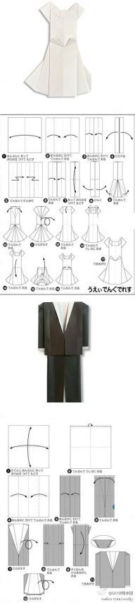 Origami Clothes Folding - origami wedding dress and suit folding