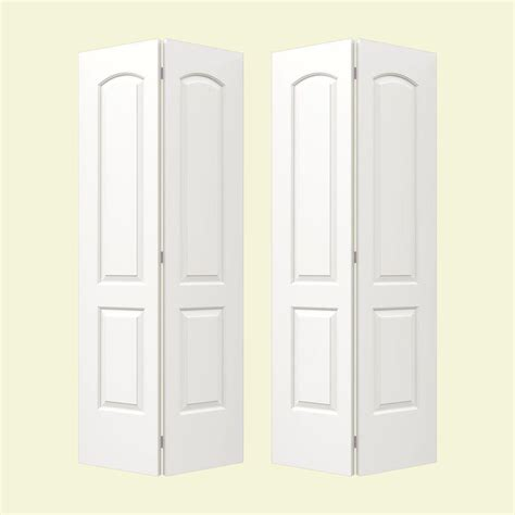 Interior Closet Doors Jeld Wen Smooth 2 Panel Arch Top Painted Molded Interior Bifold Closet Door Thdjw160100109 On