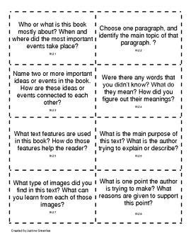 Common Core Nonfiction Discussion Cards 2nd Grade 2nd