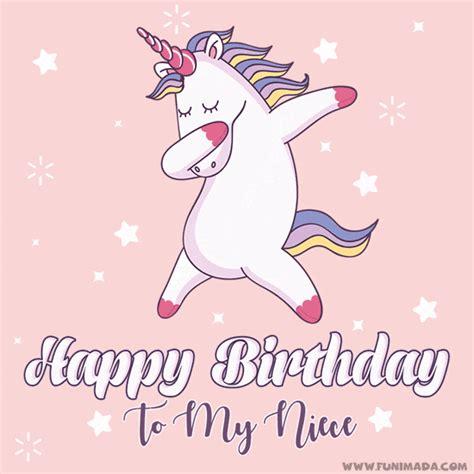 happy birthday   niece gif animation cute unicorn  dabbing   funimadacom