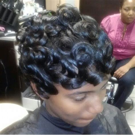how to pincurl short african american pin curls short pixie vixen pinterest