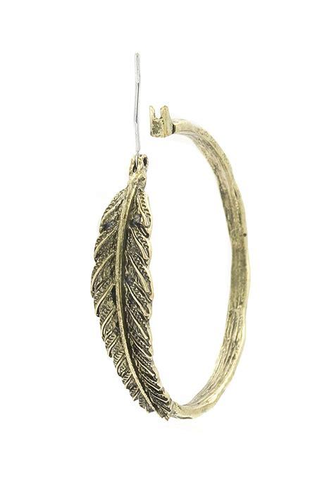 Metal Hoop Earrings textured metal leaf hoop earrings