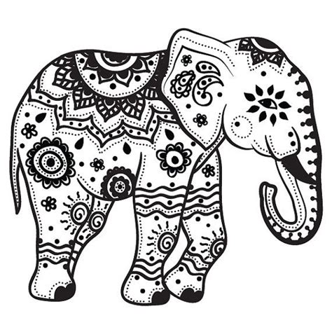 mehndi elephant coloring page extra large indian elephant temporary by