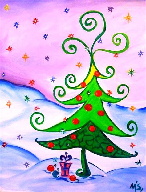 painting with a twist curly christmas tree tally