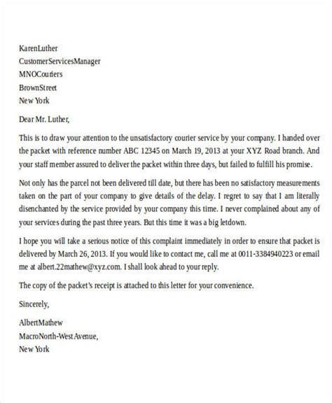 Complaint Letter Late Delivery complaint letter exle