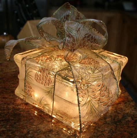 glass block christmas light lighted glass block gift with by patiencecreations