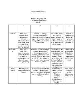 biography bottle project rubric a living biography and bottle buddy rubric by