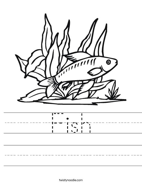 fish worksheet twisty noodle