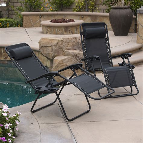 Zero Gravity Outdoor Recliner 2pc Zero Gravity Chairs Lounge Patio Folding Recliner Outdoor Yard Black Ebay