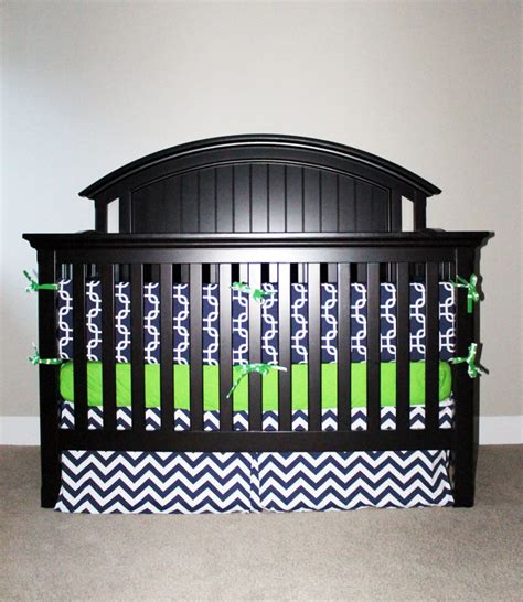 Green And Blue Crib Bedding Custom Crib Bedding Green And Navy Blue