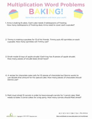 Multiplication Word Problems Worksheet by Baking Multiplication Word Problems Worksheet