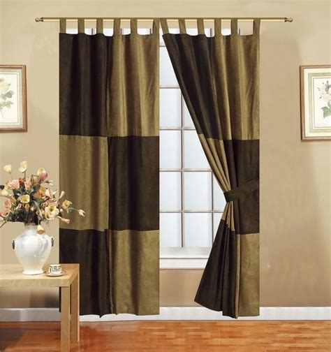 brown panel curtains brown microsuede room darkening patchwork tab top lined