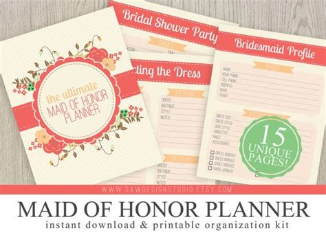 printable wedding planner kit ultimate maid of honor wedding planner instant download