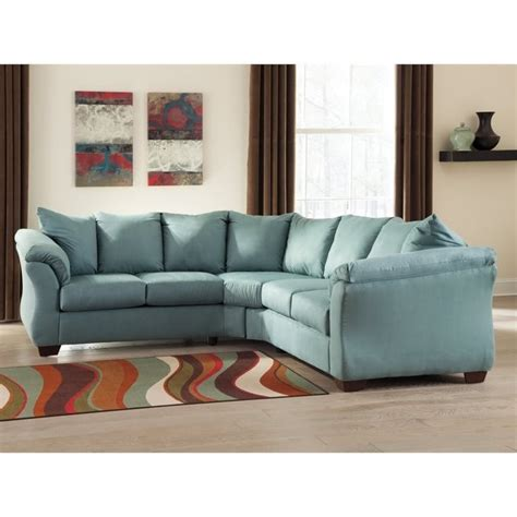 ashley darcy sectional ashley darcy 2 piece fabric sectional in sky 75006 55 56 kit