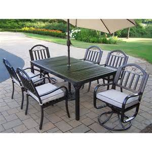 Patio Dining Sets With Umbrella Oakland Living Rochester 8 Outdoor Dining Set With Tilting Umbrella The Mine