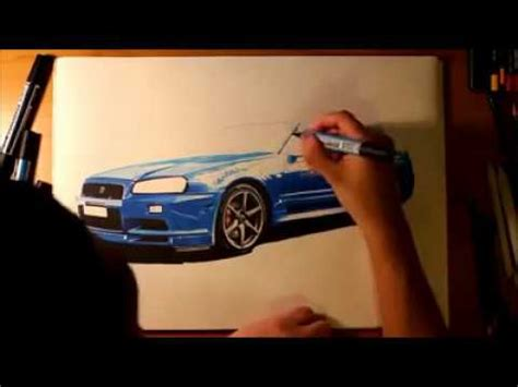 paul walkers nissan skyline drawing drawing 3d nissan skyline paul william walker iv youtube