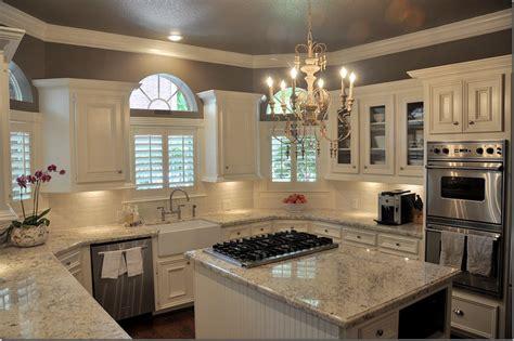 Cream Shaker Kitchen Ideas by Dark Wood Floor White Amp Gray Granite White Cabinets