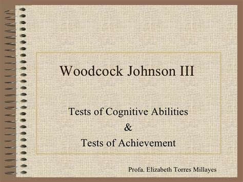 Woodcock Johnson Iii Report Template