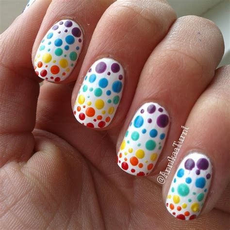 colorful nail colorful polka dots nail