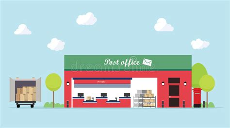 layout of post office flat design of building exterior post office stock vector