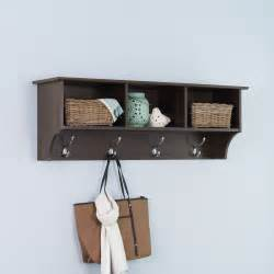prepac fremont espresso entryway cubbie shelf and coat