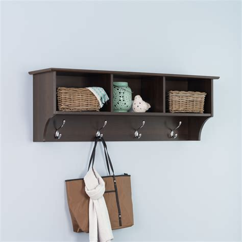 Wall Shelf Rack Wall Coat Rack With Shelf Decofurnish