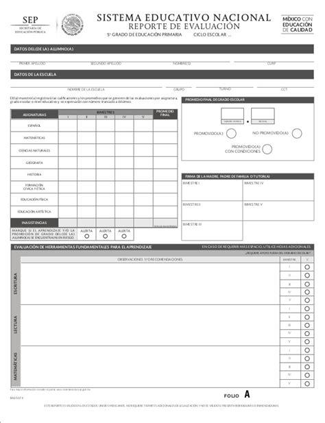 formato de boleta para secundaria ciclo 2016 2017 primaria 5 reporte de evaluaci 243 n sep