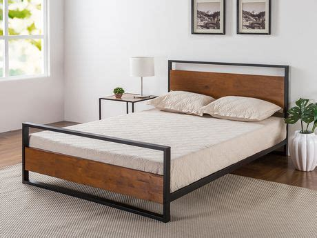 zinus ironline metal and wood platform bed with headboard and footboard walmart canada