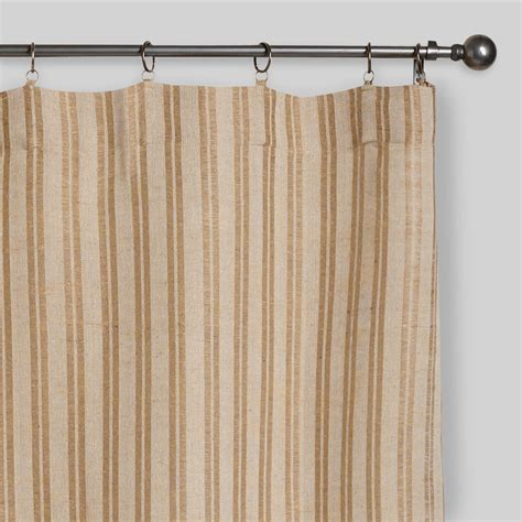 jute curtains online natural striped jute iron ring curtains set of 2 world