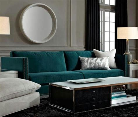 Grey And Teal Sofa Teal Sofa Is A Gem Against Grey Walls A Rug And Midnight Curtains Decorating With
