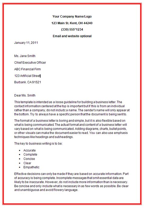 Business Letter Layout Heading Business Letter Formats