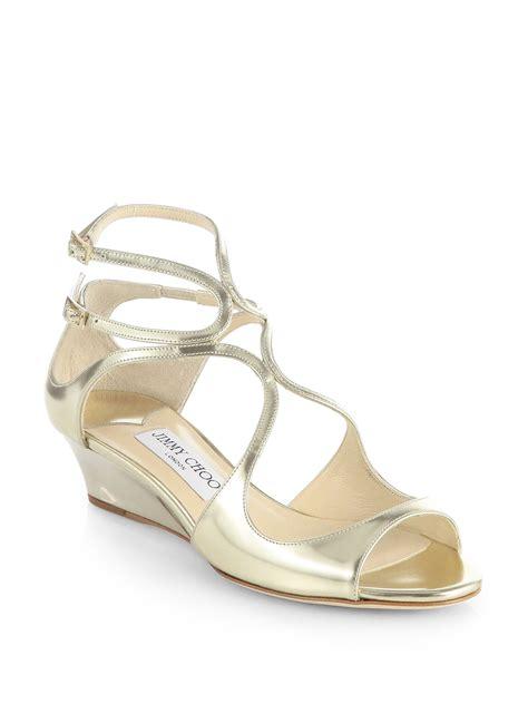 jimmy choo gold sandals jimmy choo inka mirror leather wedge sandals in gold lyst