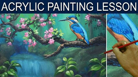 paint with a twist hammond la acrylic painting tutorial kingfisher blue bird on a tree