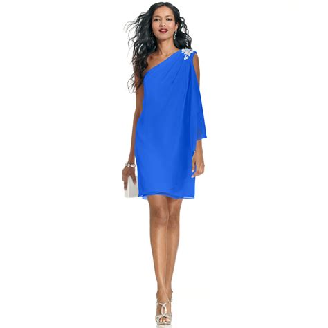 Js Blue lyst js boutique one shoulder jeweled dress in blue