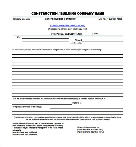 16 construction proposal templates free excel pdf