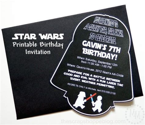 darth vader birthday card template best 25 printable birthday invitations ideas on