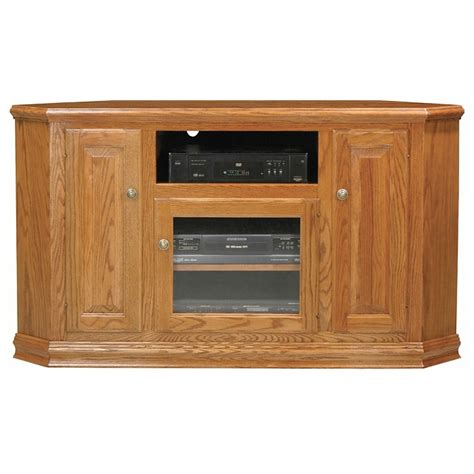 classic oak 56 quot corner tv cabinet 1 open shelf 3