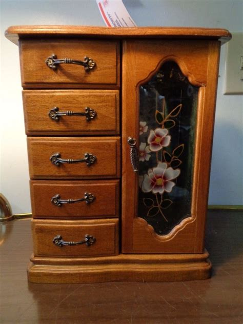 armoire chest of drawers jewelry box mini armoire chest table top wood mirror