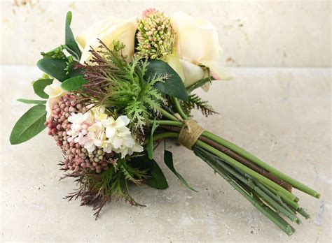 """Rose Lilac & Thistle Silk Bouquet Peach Green   11"""" Tall"""