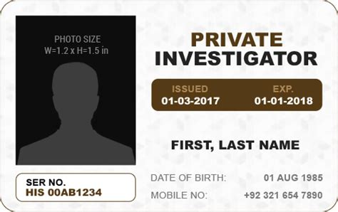 detective identification card template for ms word photo id badge templates for all professionals