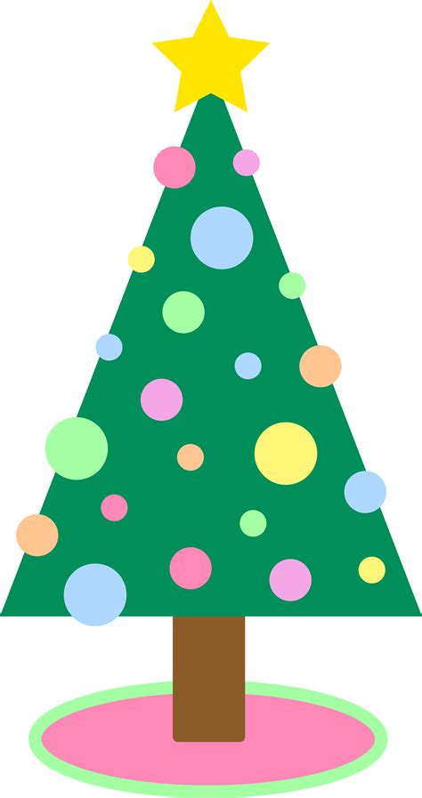 cute simple pastellored christmas tree free clip art
