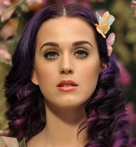Music Katy Pictures With Curly Hairstyle With Dark Purple Highlights