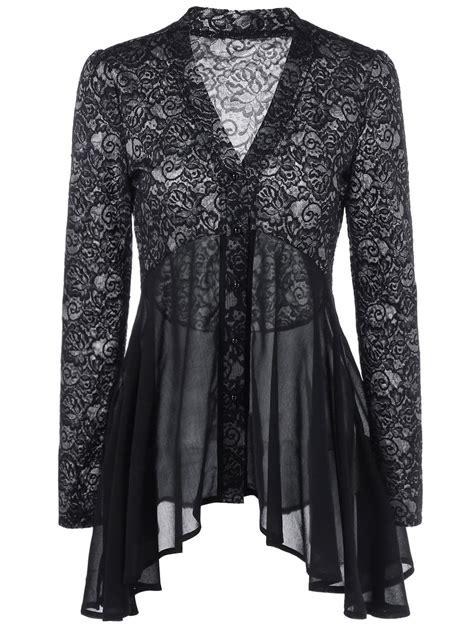 Lace Blouse Black Flower blouses shirts black 2xl button up lace floral blouse gamiss