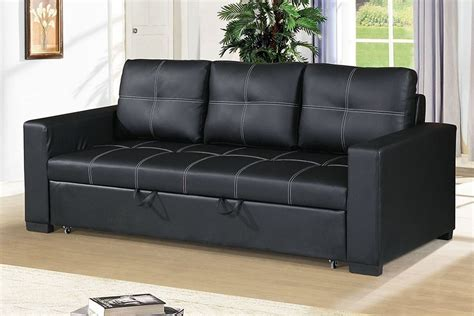 black faux leather convertible sofa bed