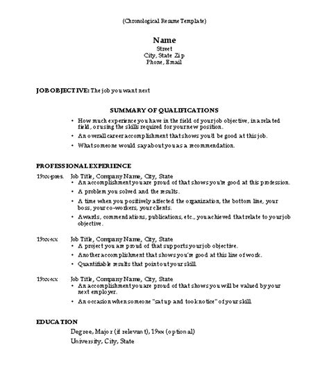 resume format chronological why use this chronological resume template susan ireland