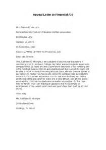 Appeal Letter College Financial Aid Sle Appeal Letter To Financial Aid Hashdoc