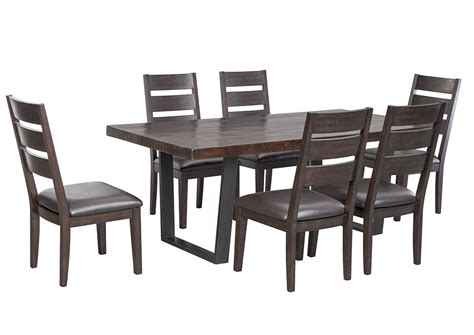 Dining Room Table With Upholstered Chairs by Furniture Showcase Parlone Brown Rectangular Dining