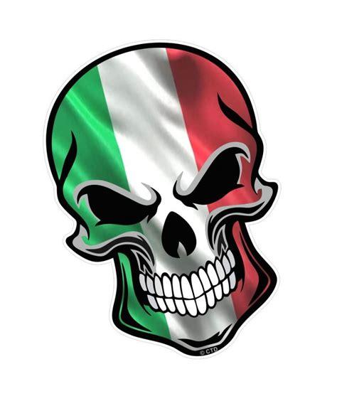 gothic biker skull italy italian il tricolore flag with